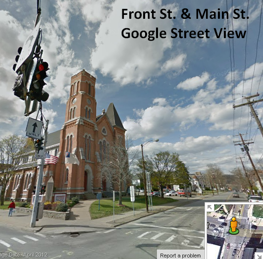 Front Street and Mian Street in Binghamton, location of the First Congregational Church in Binghamton,NY